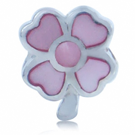 Pink Mother of Pearl 925 Sterling Silver FLOWER Threaded European Bead
