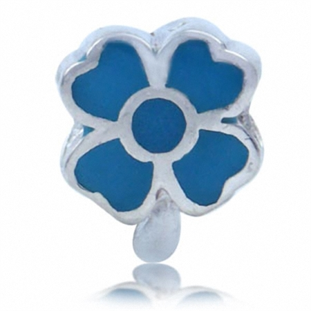CLOVER LEAF Turquoise 925 Sterling Silver Threaded European Bead
