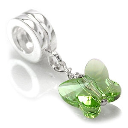 Butterfly Shape Peridot Green Crystal 925 Sterling Silver Dangle Threaded European Charm Bead