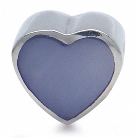 Purple Mother Of Pearl 925 Sterling Silver HEART Threaded European Bead