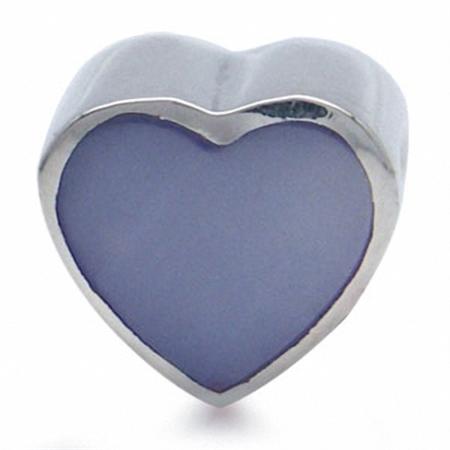 Purple Mother Of Pearl 925 Sterling Silver HEART Threaded European Bead