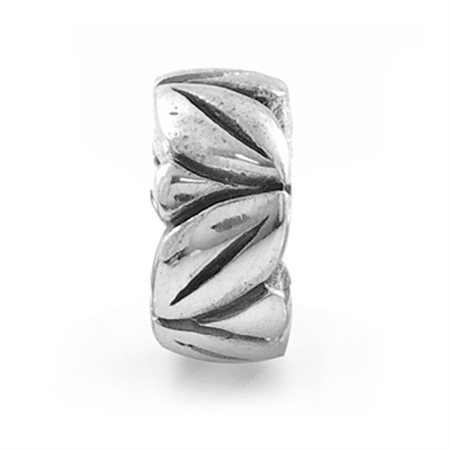 925 Sterling Silver LEAF Spacer Threaded European Charm Bead