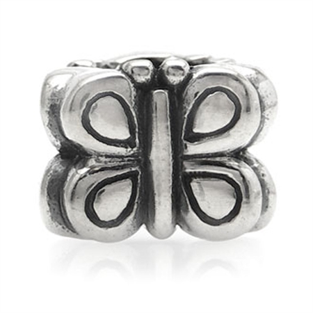 925 Sterling Silver BUTTERFLY Threaded European Charm Bead