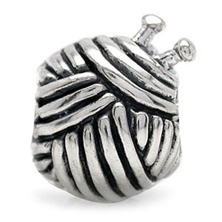 925 Sterling Silver KNIT BALL Threaded European Charm Bead