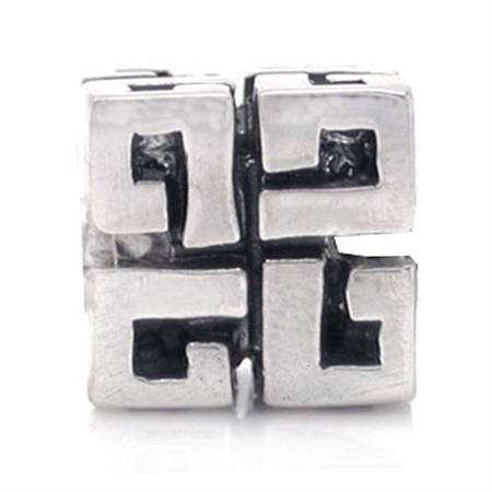 925 Sterling Silver Greek Key Threaded European Charm Bead