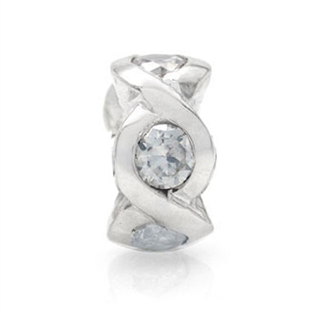 White CZ 925 Sterling Silver Threaded European Charm Bead