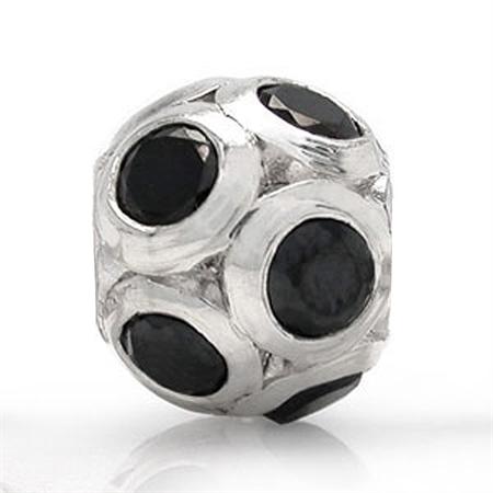 Black CZ 925 Sterling Silver Ball Threaded European Charm Bead
