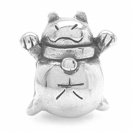 Nagara 925 Sterling Silver JAPANESE FORTUNE CAT Threaded European Charm Bead