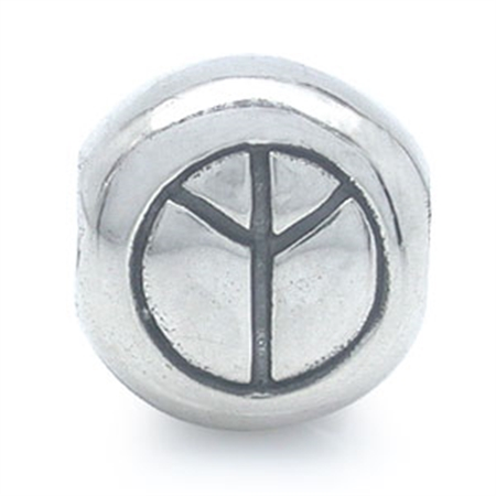 925 Sterling Silver PEACE Threaded European Charm Bead