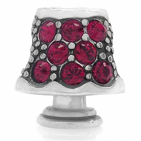 AUTH Nagara Ruby Red Crystal 925 Sterling Silver LAMP Threaded European Bead