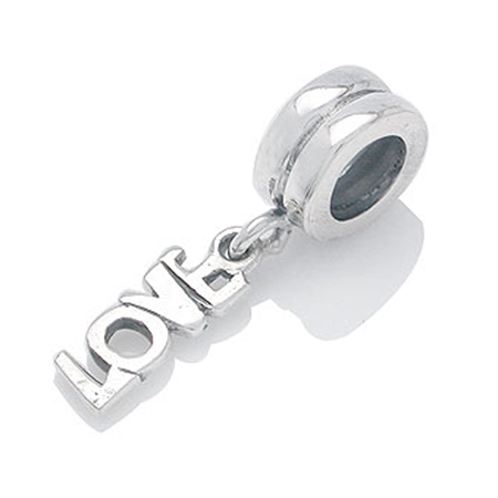 925 Sterling Silver LOVE Dangle Threaded European Charm Bead (Fits Pandora Chamilia)