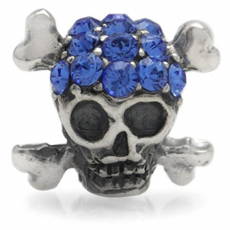 Sapphire Blue Crystal 925 Sterling Silver SKULL Threaded European Charm Bead