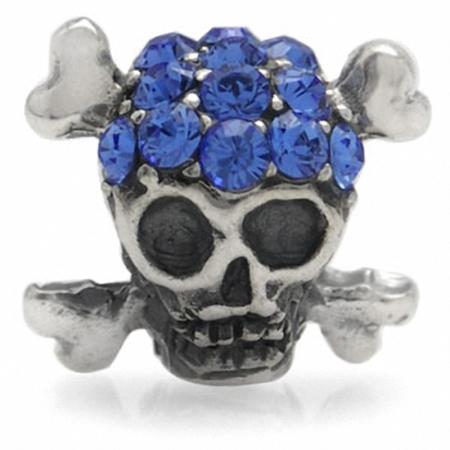 Sapphire Blue Crystal 925 Sterling Silver SKULL Threaded European Charm Bead