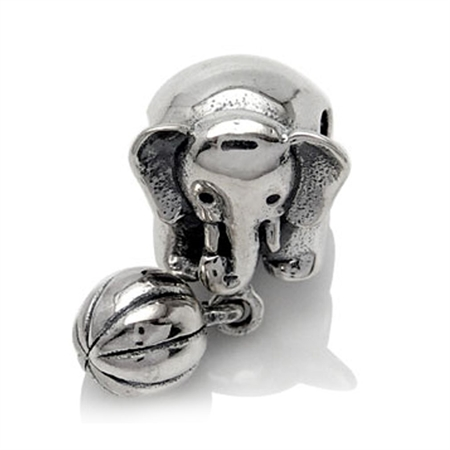 925 Sterling Silver ELEPHANT & BALL Dangle Threaded European Charm Bead