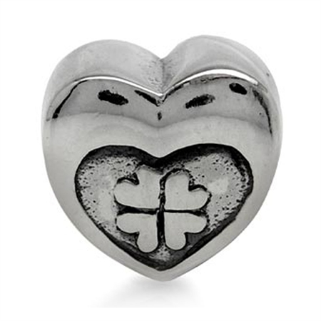 925 Sterling Silver CLOVER LEAF HEART Threaded European Charm Bead