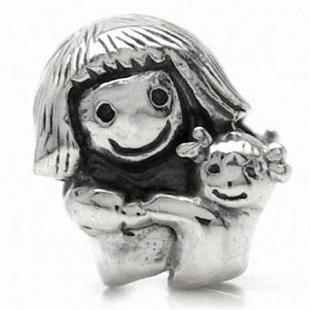 925 Sterling Silver MOTHER & BABY Threaded European Charm Bead