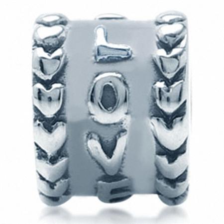 AUTH Nagara 925 LOVE Sterling Silver Threaded European Charm Bead
