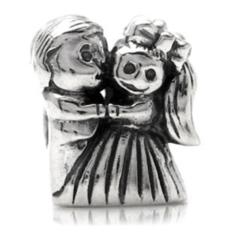 AUTH Nagara BRIDE & GROOM Silver Threaded European Charm Bead