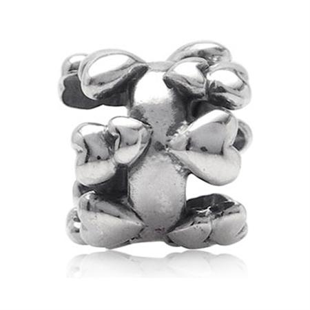 925 Sterling Silver HEART Threaded European Charm Bead