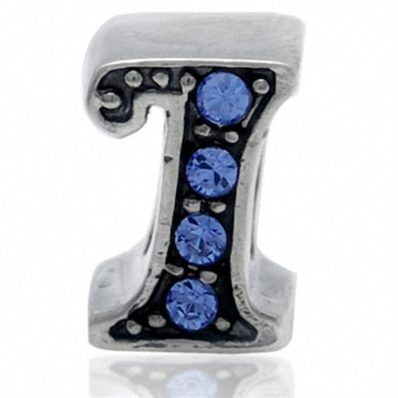 Sapphire Blue Crystal 925 Sterling Silver Initial I Threaded European Charm Bead