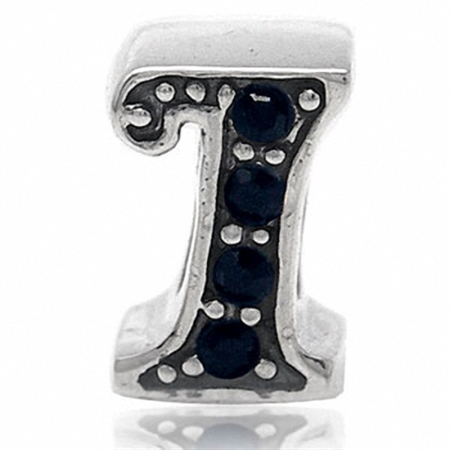 Jet Black Crystal 925 Sterling Silver Letter I Threaded European Charm Bead