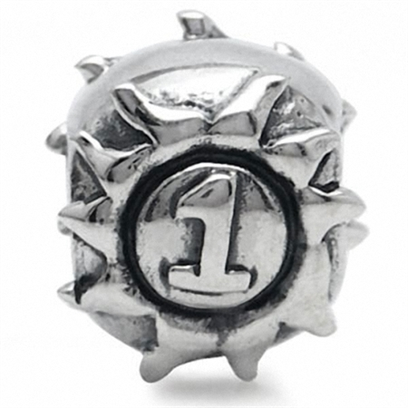 925 Sterling Silver NUMBER ONE Threaded European Charm Bead