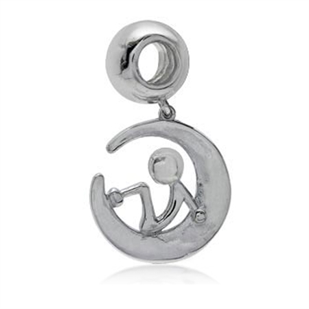 925 Sterling Silver Mickey on The Moon Dangle Threaded European Charm Bead