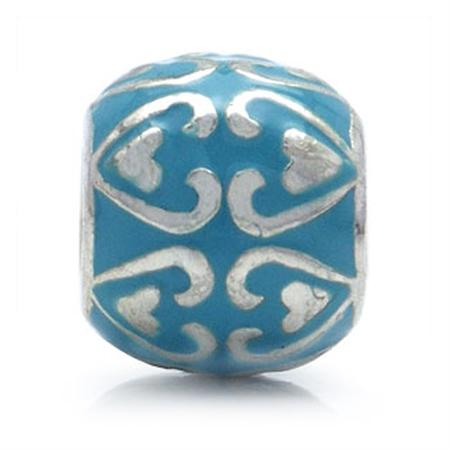Blue Enamel 925 Sterling Silver HEART Threaded European Charm Bead