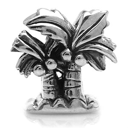 Nagara 925 Sterling Silver COCONUT/PALM TREE Threaded European Charm Bead