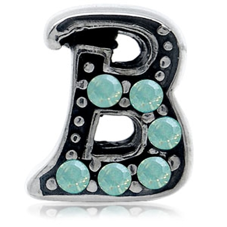 Pacific Opal Crystal 925 Sterling Silver Letter B Threaded European Charm Bead