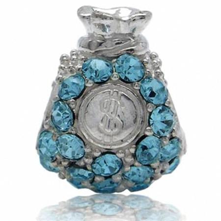 Aquamarine Blue Crystal 925 Sterling Silver $ Money Bag Threaded European Charm Bead