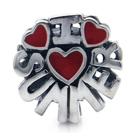 Red Enamel 925 Sterling Silver I LOVE SUMMER Threaded European Charm Bead