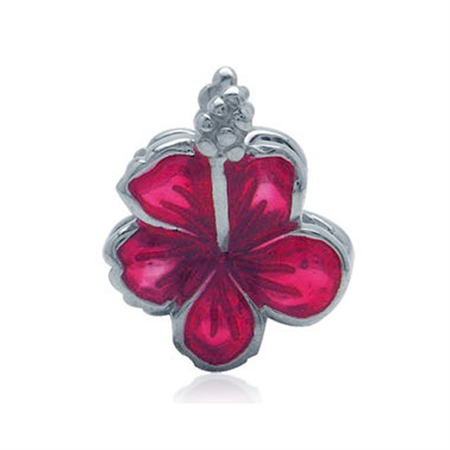 AUTH Nagara Enamel 925 Sterling Silver FLOWER Threaded European Charm Bead
