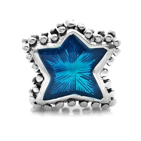 AUTH Nagara Blue Enamel Sterling Silver Star European Charms Screw Bead