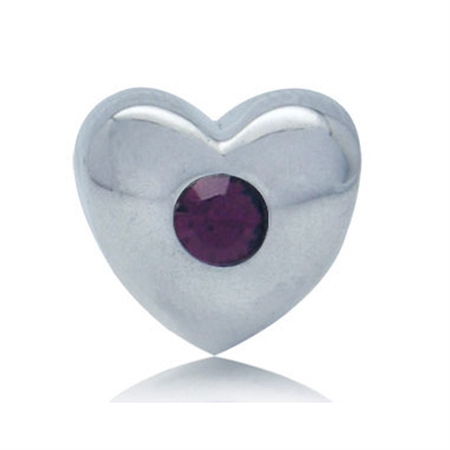 Amethyst Crystal Sterling Silver Heart Threaded European Bead