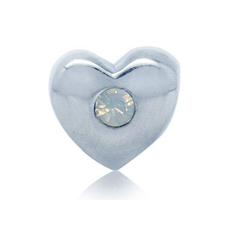 October Birthstone 925 Sterling Silver Heart Threaded European Bead