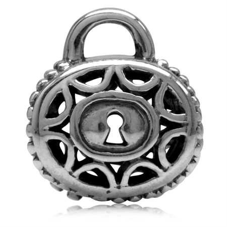925 Sterling Silver PADLOCK Threaded European Charm Bead