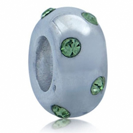 Peridot Green Crystal 925 Sterling Silver Spacer Threaded European Charm Bead