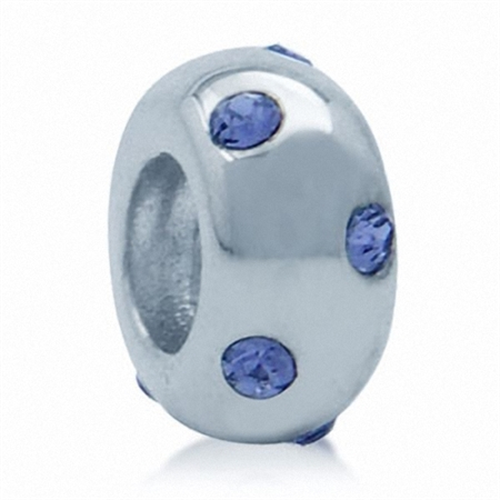 Tanzanite Crystal 925 Sterling Silver Spacer Threaded European Charm Bead