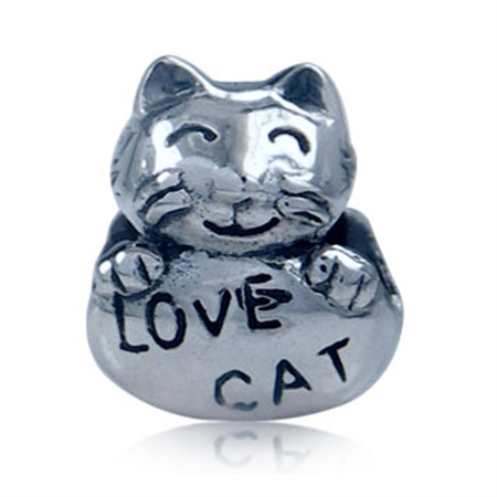 925 Sterling Silver LOVE CAT Threaded European Charm Bead