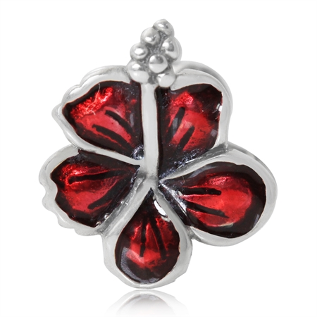 Red Enamel 925 Sterling Silver FLOWER Threaded European Bead (Fits Pandora Chamilia)