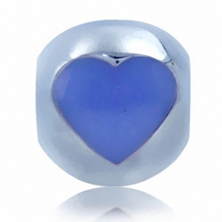 Purple Enamel 925 Sterling Silver HEART Threaded European Charm Bead
