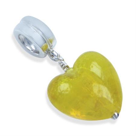 925 Sterling Silver Heart Yellow Murano Glass Dangle Threaded European Charm Bead