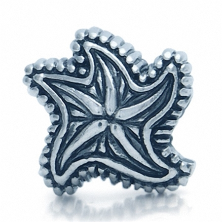 AUTH Nagara 925 Sterling Silver STARFISH Threaded European Bead