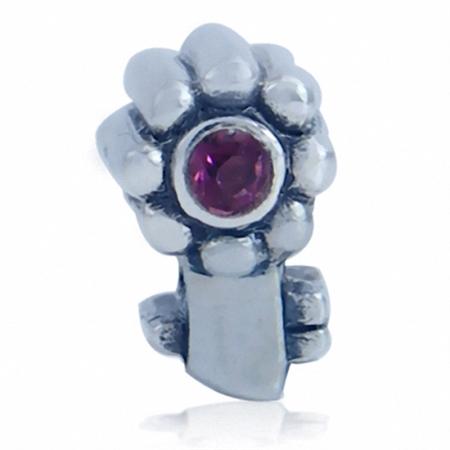 Amethyst Purple Crystal 925 Sterling Silver Flower Key Threaded European Charm Bead