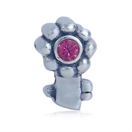 Rose Pink Crystal 925 Sterling Silver Flower Key Threaded European Charm Bead
