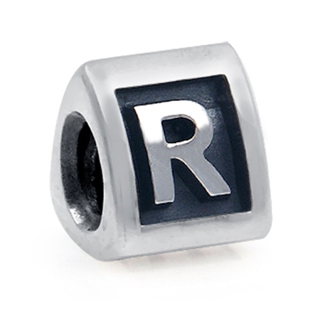 925 Sterling Silver Alphabet Letter R Threaded European Bead