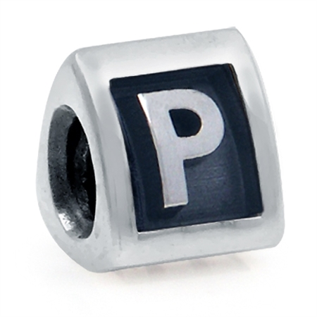 925 Sterling Silver Alphabet Letter P Threaded European Charm Bead