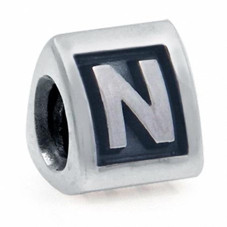 925 Sterling Silver Alphabet Letter N Threaded European Bead