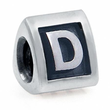 925 Sterling Silver Alphabet Letter D Threaded European Charm Bead